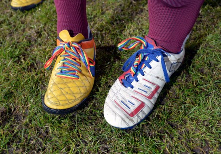LONDON, ENGLAND - DECEMBER 06: West Ham United Rainbow laces campaign, West Ham (Pride of Irons) v Arsenal (Gay Gooners) at London Stadium Community Pitch on 6th December, 2019 in London, England. (Photo by James Griffiths/West Ham United via Getty Images)