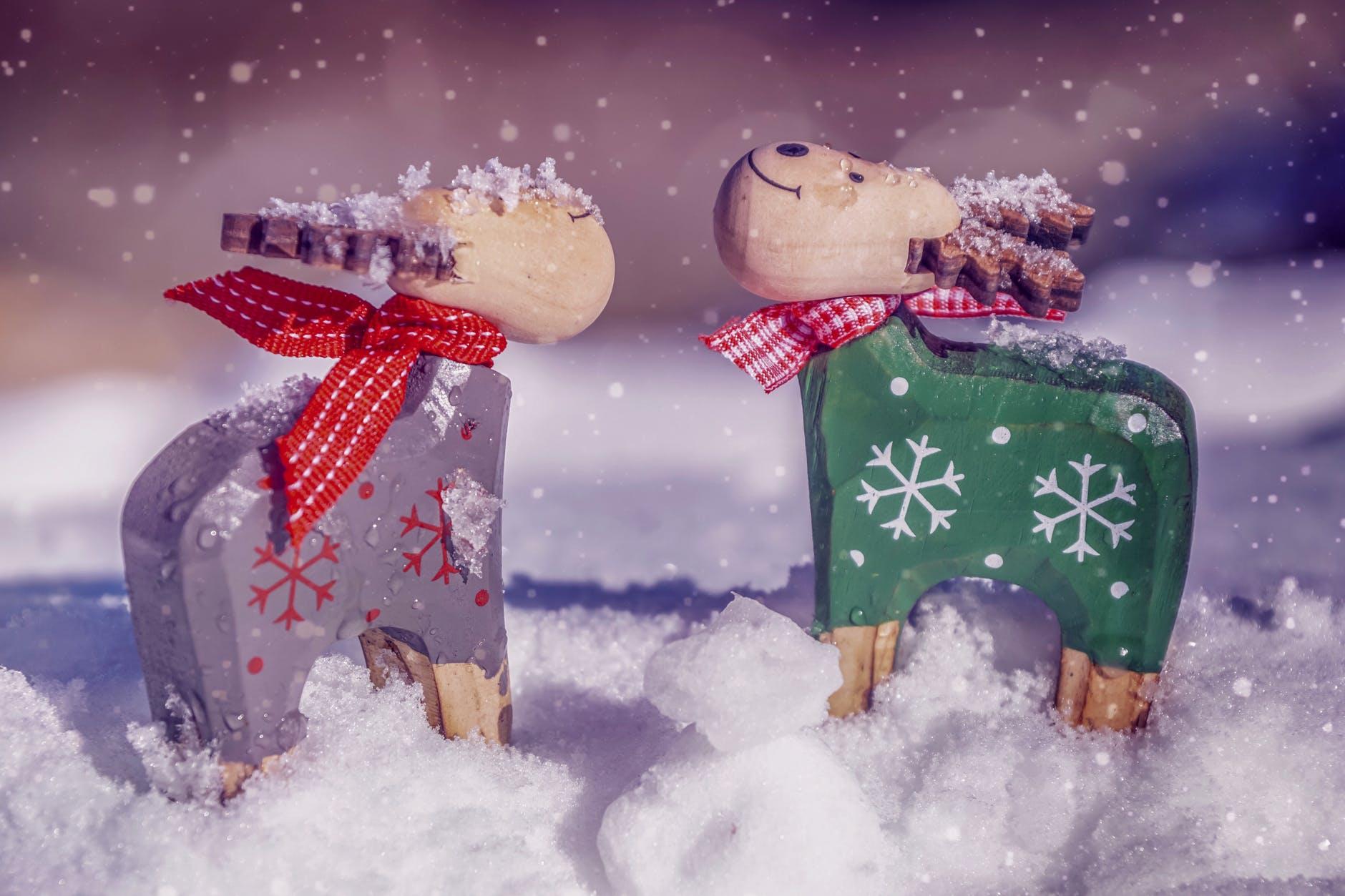 two reindeer figurines